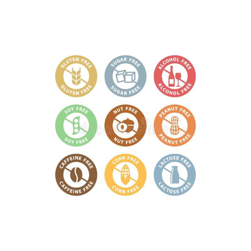 Azúcar, alcohol, sistema de etiqueta colorido libre del cacahuete Ingredientes alimentarios lactosa, insignia libre del gluten fi stock de ilustración