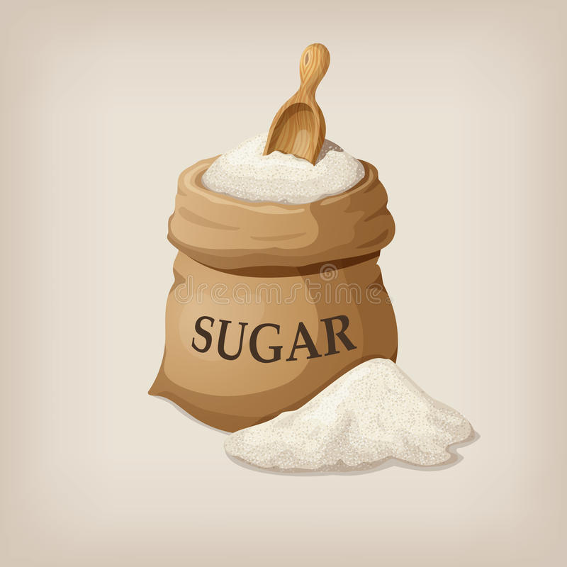 Azúcar con la cucharada en saco de la arpillera stock de ilustración