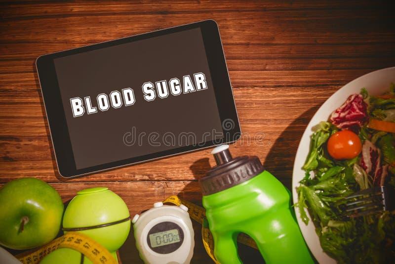 Azúcar de sangre contra la tableta en la tabla sana de las personas ilustración del vector