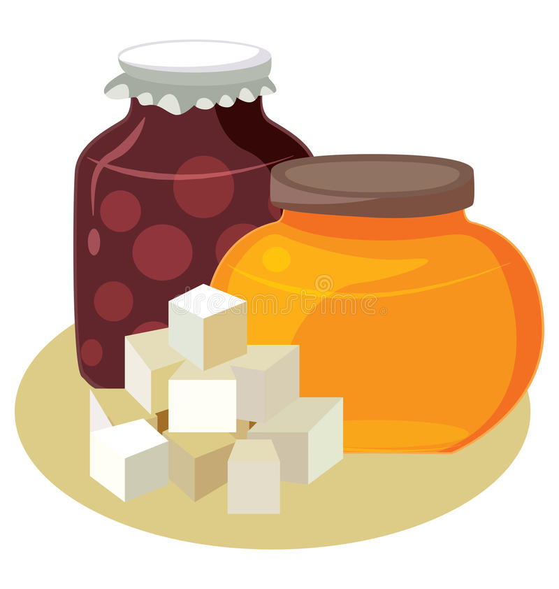 Azúcar, miel, atasco - carbohidratos simples libre illustration