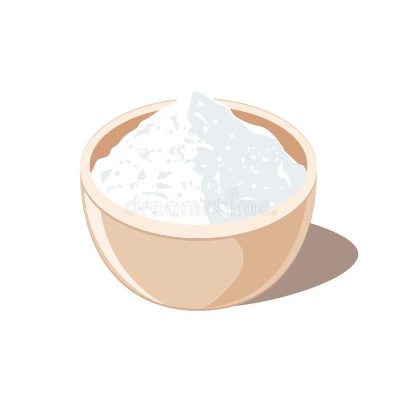 Azúcar o sal en cuenco stock de ilustración