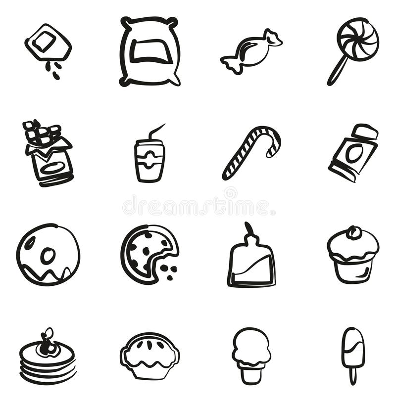 Azúcar o Sugar Food Icons Freehand libre illustration