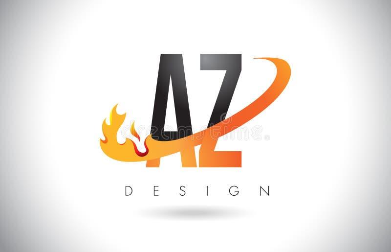 az ein z buchstabe logo mit feuer flammen design und orange swoosh vektor abbildung. Black Bedroom Furniture Sets. Home Design Ideas
