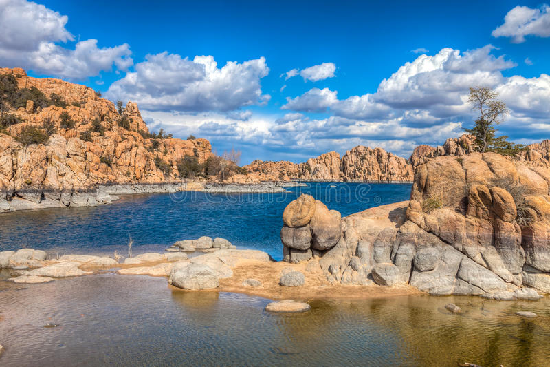 AZ-Prescott-Watson Lake Dells. When hiking in this granite wonderland, the beauty of rock formations, scenic desert, and a beautiful lake, surrounds the viewer royalty free stock images