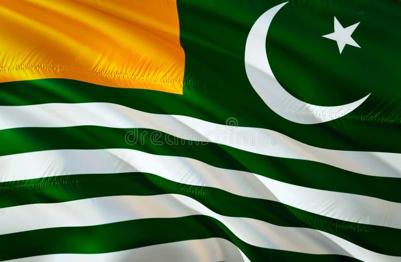 Azad Kashmir flagga vinkande design för flagga 3D Det nationella symbolet av Azad Kashmir, tolkning 3D Nationella färger och nati arkivbild