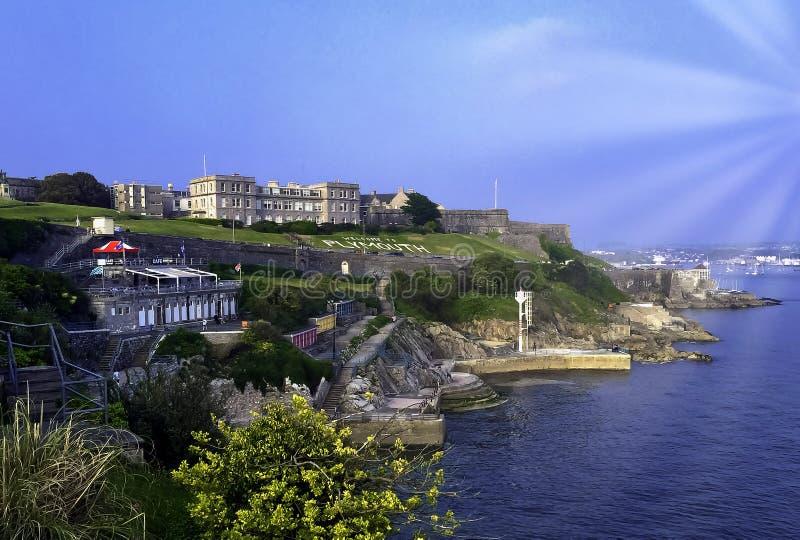 Azada de Plymouth - vista al mar en Plymouth, Devon, Reino Unido fotos de archivo