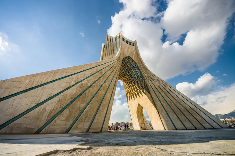 Azadi Tower in Teheran, Iran. Teheran, Iran - February 2016 - Azadi Tower, one ofe the most important monument in Teheran on winter. Iran, 2016 stock images