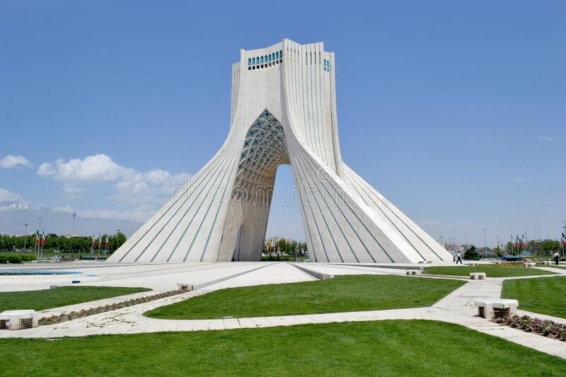 Azadi tower v Tehranu. Freedom Azadi tower, formerly known as the Shahyad tower, monument located on Azadi Square in capital of stock photography