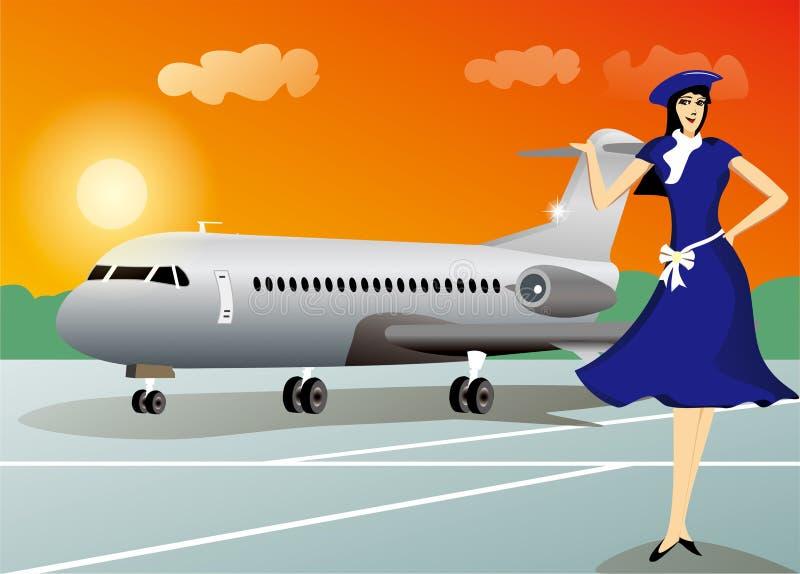 Azafata con el fondo del viaje del aeroplano stock de ilustración