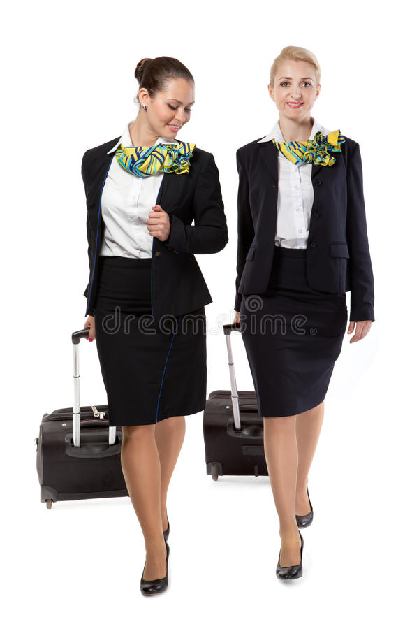 Azafata con los bolsos del equipaje imagen de archivo