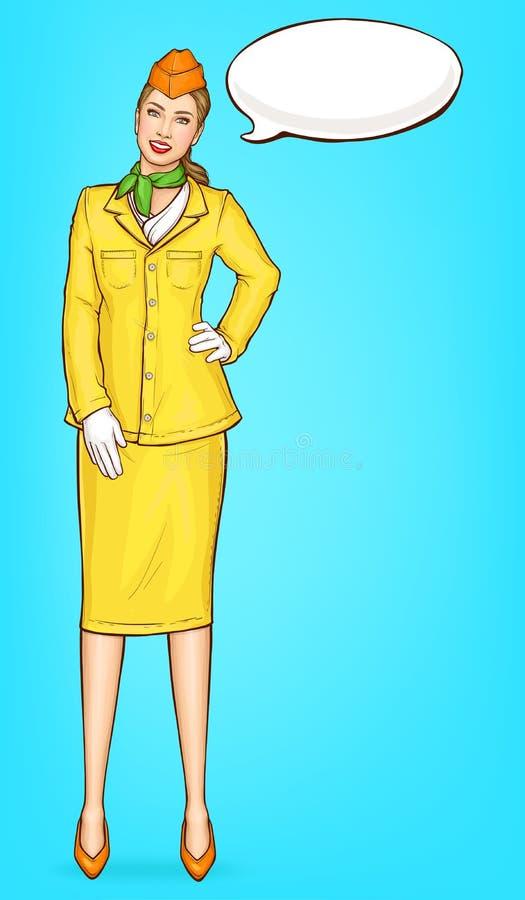 Azafata del arte pop, asistente de vuelo, presentadora de aire ilustración del vector