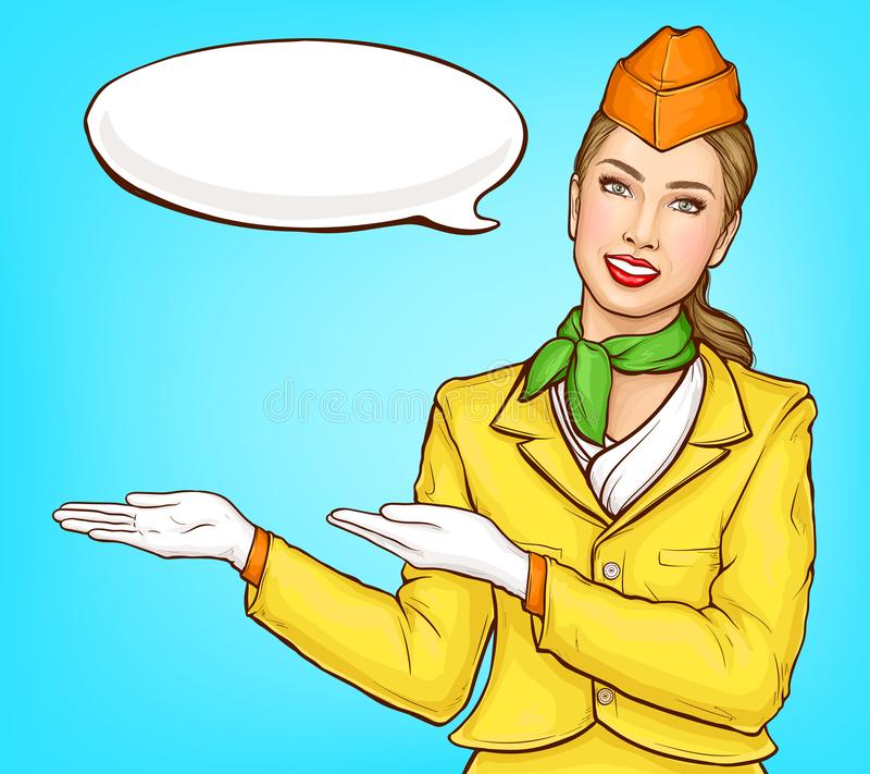 Azafata del arte pop, asistente de vuelo, presentadora de aire libre illustration