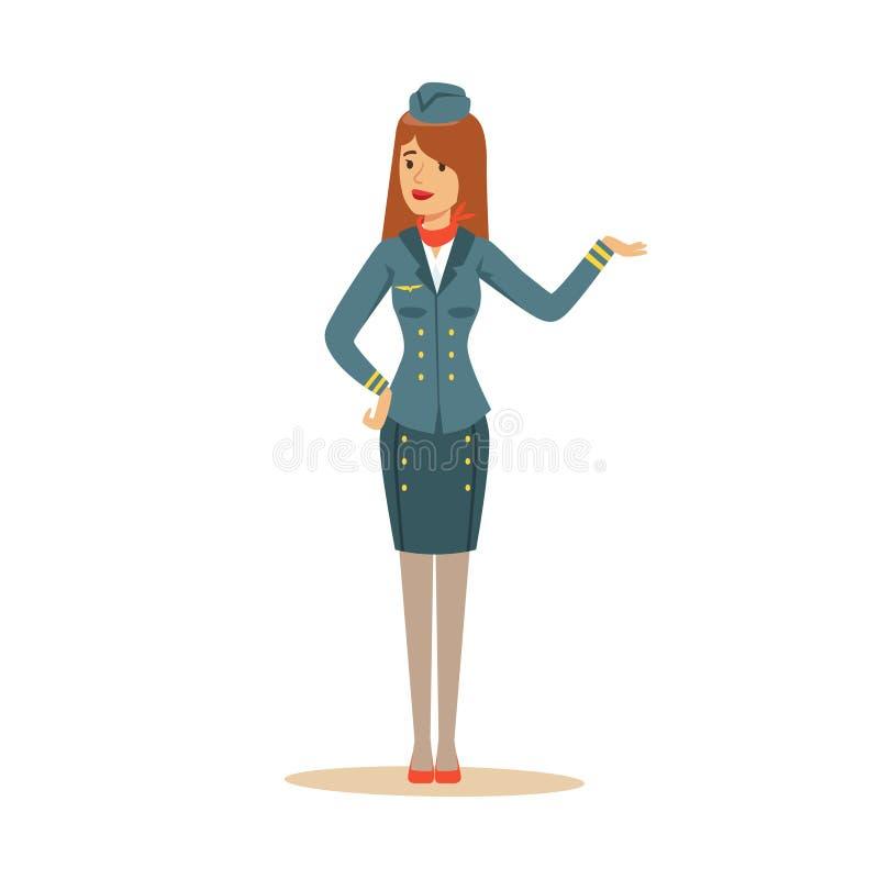Azafata en el uniforme del azul que hace un gesto agradable, asistente de vuelo en el ejemplo del vector del aeroplano stock de ilustración