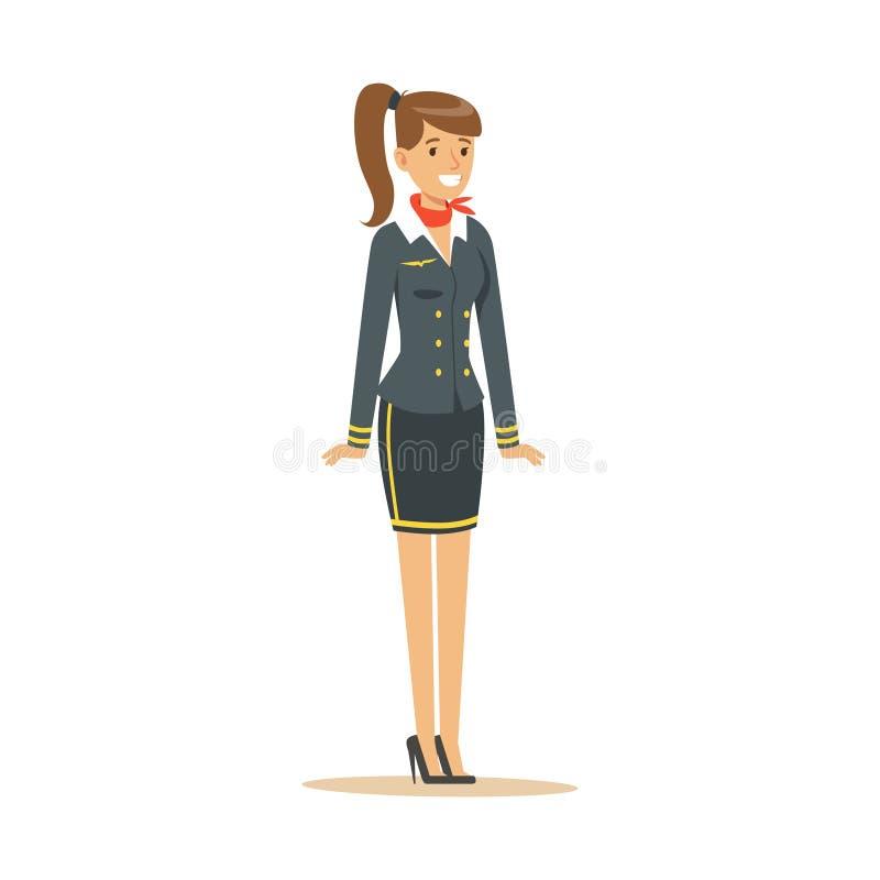Azafata sonriente en uniforme del azul, asistente de vuelo en el ejemplo del vector del aeroplano stock de ilustración