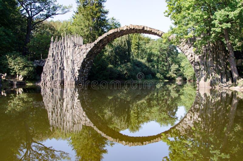 Azalea en Rododendronpark Kromlau, Rakotzbrà ¼ cke stock afbeelding