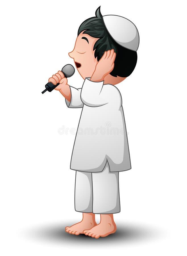 Azan musulmano del bambino isolato su fondo bianco royalty illustrazione gratis