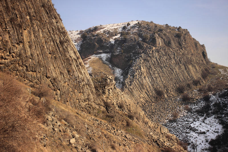 Azat河石头峡谷和交响乐在Garni附近的在冬天 库存图片