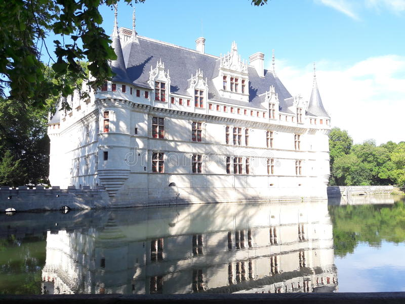azay le rideau城堡  免版税图库摄影