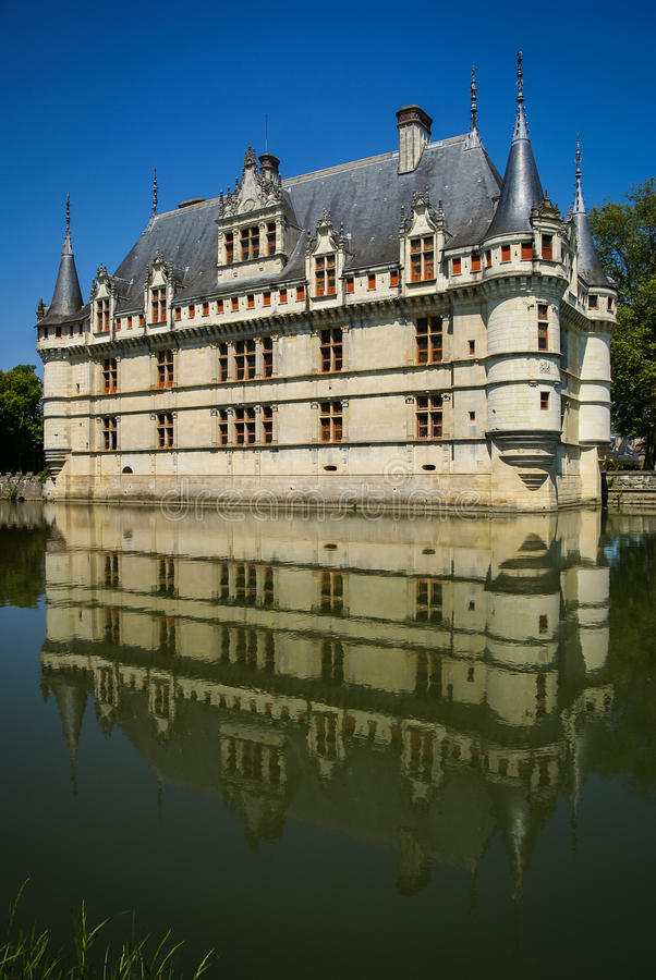 Azay leRideau castle,卢瓦尔河,法国的城堡 库存照片
