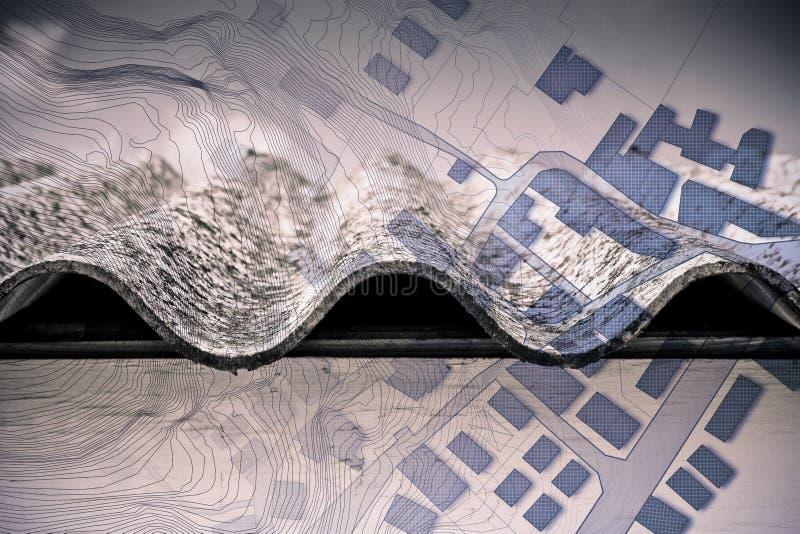Azbest, jeden niebezpieczni materiały budowlani na dachach nasz budynki, - pojęcie wizerunek przeciw imaginacyjnemu zdjęcie stock