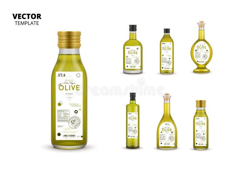Azeite virgem extra garrafas de vidro enlatadas ilustração royalty free