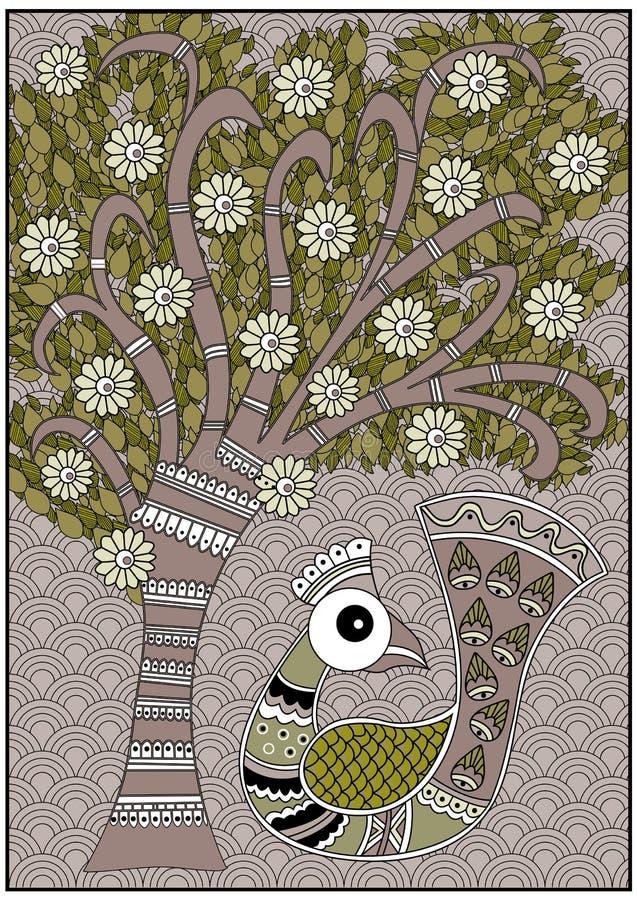 Azeitona da árvore do passarinho da Índia e cores marrons foto de stock