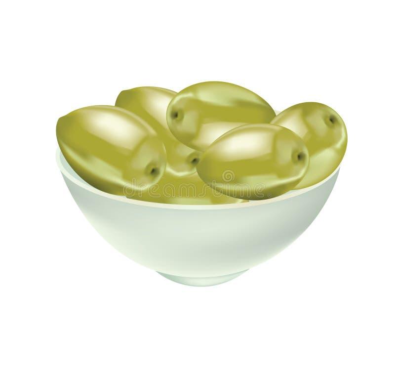 Azeitona verde deliciosa no óleo ilustração stock