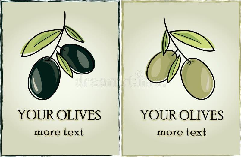 Azeitonas da etiqueta da etiqueta do vetor escuras e claras ilustração stock