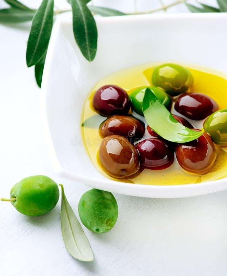 Azeitonas e azeite imagem de stock
