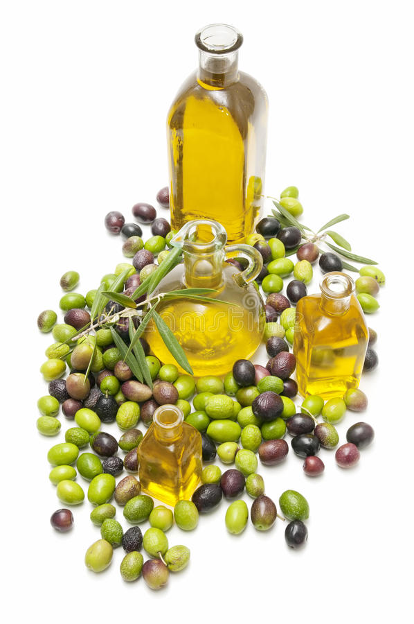Azeitonas e petróleo imagens de stock royalty free