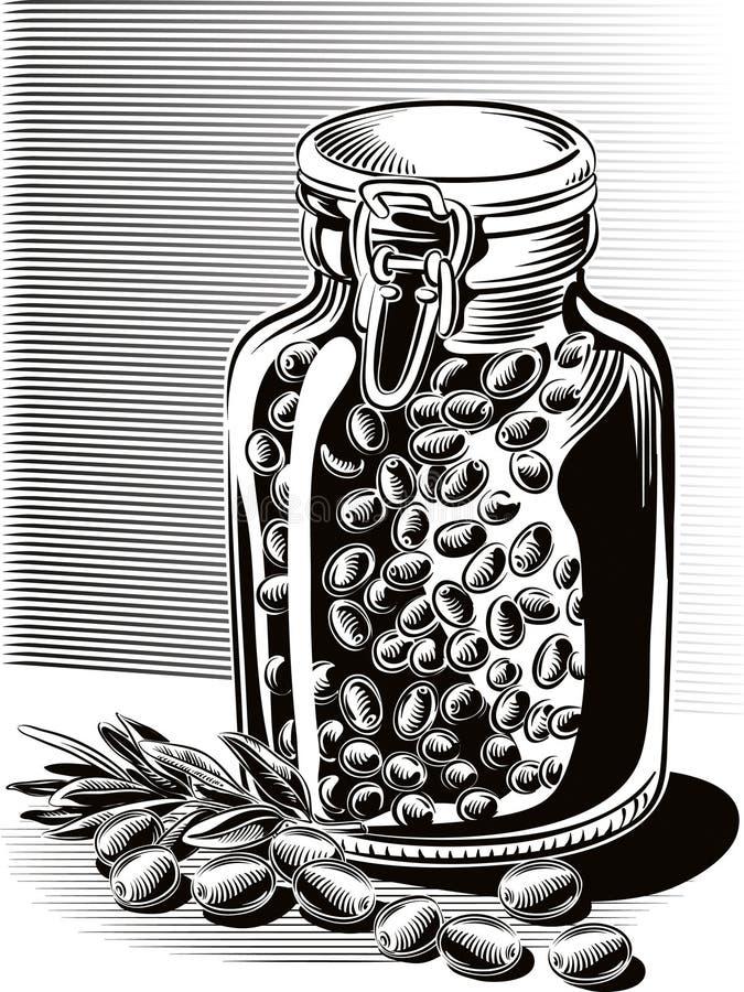 Azeitonas e um frasco de vidro completamente de azeitonas conservadas ilustração do vetor