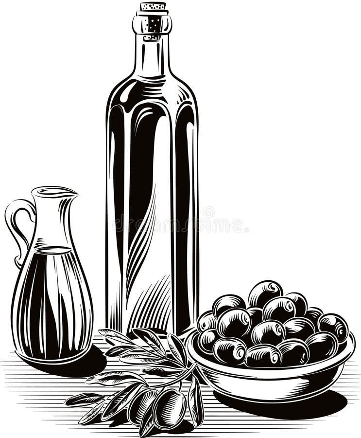 Azeitonas em uma bacia, um ramo de oliveira, ilustração stock