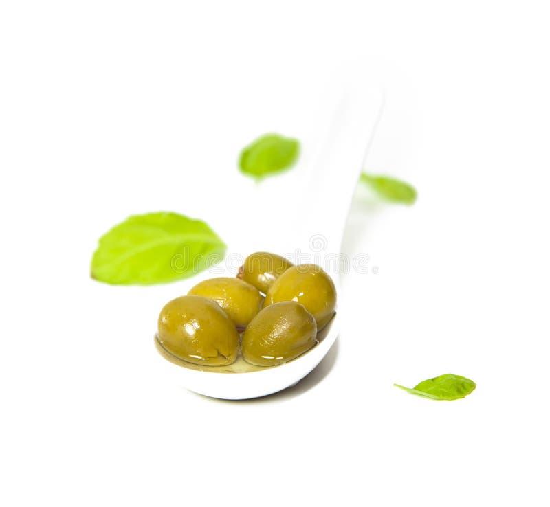 Azeitonas no petróleo verde-oliva fotografia de stock