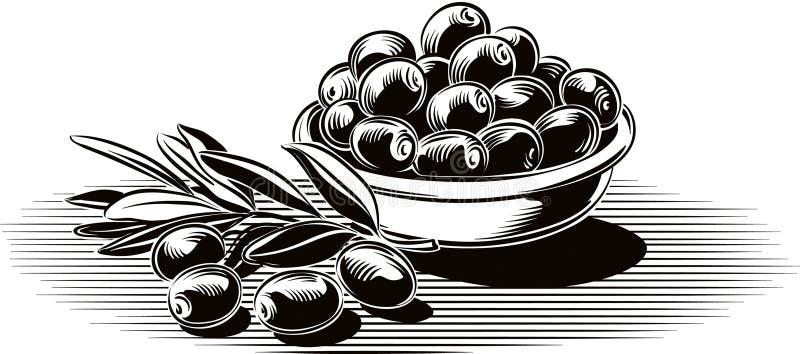 Azeitonas pretas em uma bacia ilustração stock