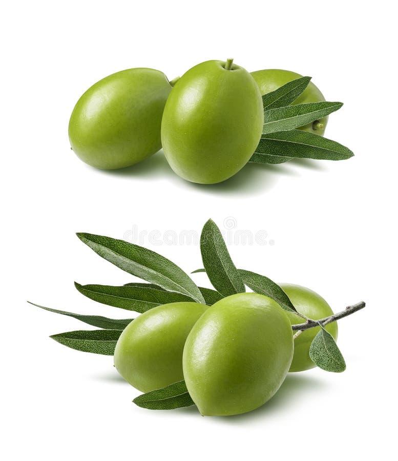 Azeitonas verdes ajustadas isoladas no fundo branco fotos de stock