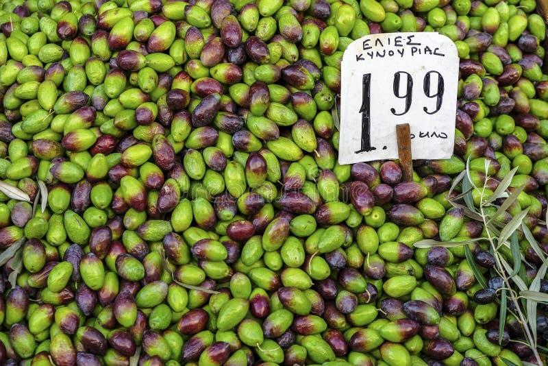 Azeitonas verdes gregas, Atenas, Grécia foto de stock royalty free
