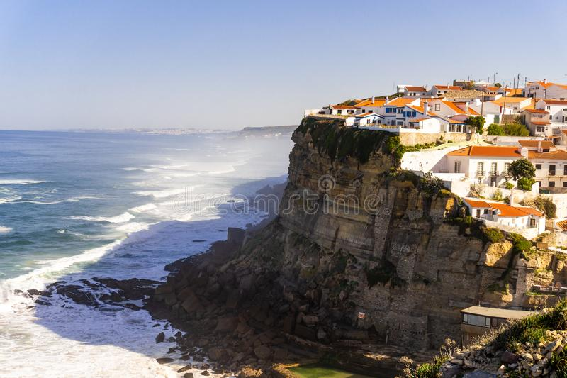 Azenhas Do Mar, Sintra, Portugal townscape on the coast royalty free stock images
