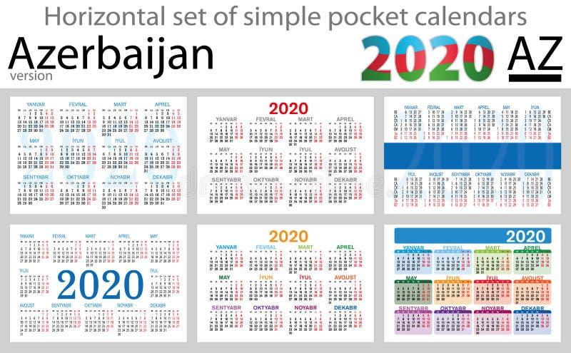 Azerbaijão ajustou-se de calendários do bolso para 2020 ilustração do vetor