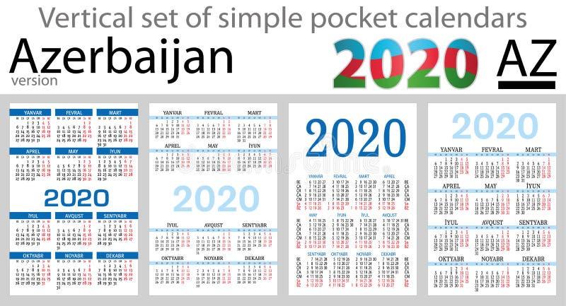 Azerbaijão ajustou-se de calendários do bolso para 2020 ilustração royalty free