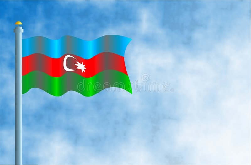 Azerbaijan. National flag of Azerbaijan with space for text royalty free illustration