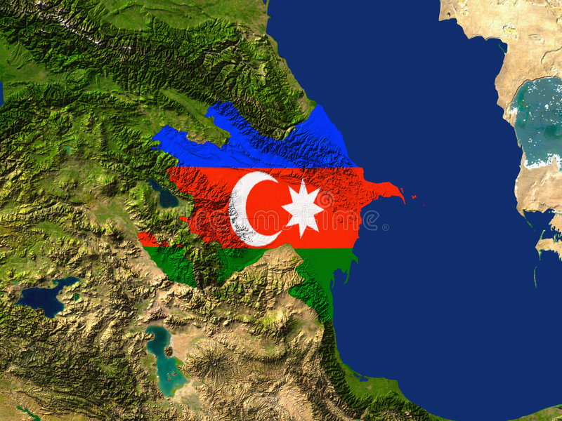 Azerbaijan. Highlighted Satellite Image Of Azerbaijan With The Regions Flag Covering It royalty free illustration