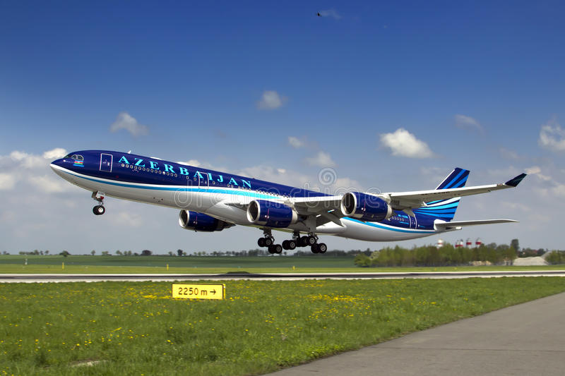 Azerbaijan Airlines Airbus A340 royalty free stock images