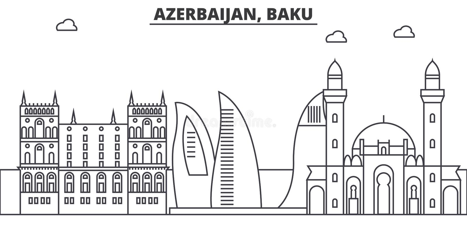 Azerbaijan, Baku architecture line skyline illustration. Linear vector cityscape with famous landmarks, city sights. Design icons. Editable strokes royalty free illustration
