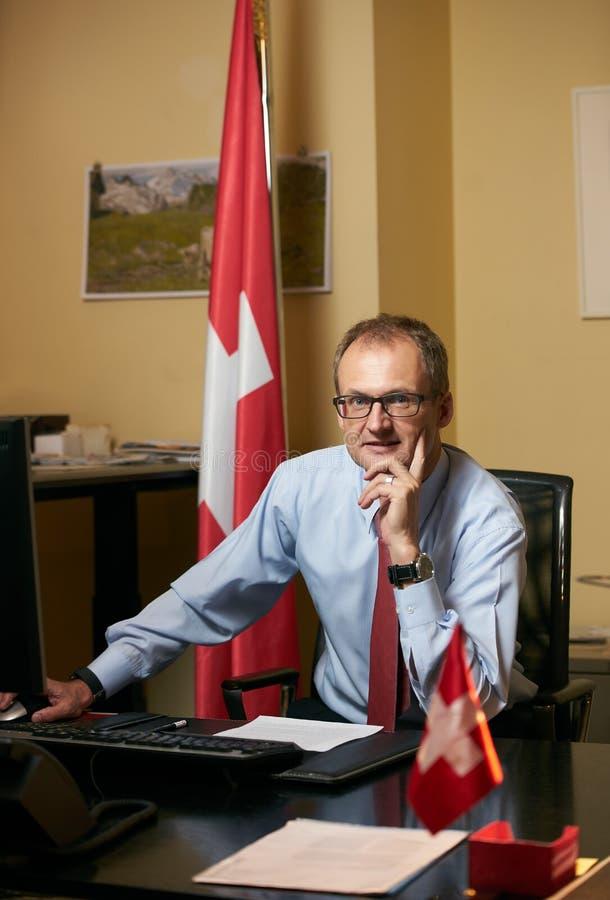 Azerbaijan, Baku - July 20, 2018: Ambassador Philip Stalder port. Rait. Swiss Ambassador to Azerbaijan Mr. Philip Stalder stock images