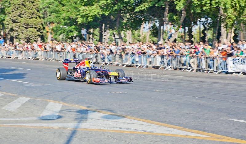 AZERBAIJAN, BAKU - JUNI 17: De aandrijving van David Coulthard RB7 van Rood royalty-vrije stock afbeelding