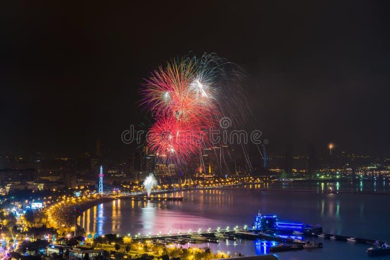 Azerbaijan Baku night city salute stock photo