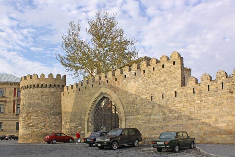 azerbaijan baku Veiw van stadsstraten Oude Stad royalty-vrije stock foto's