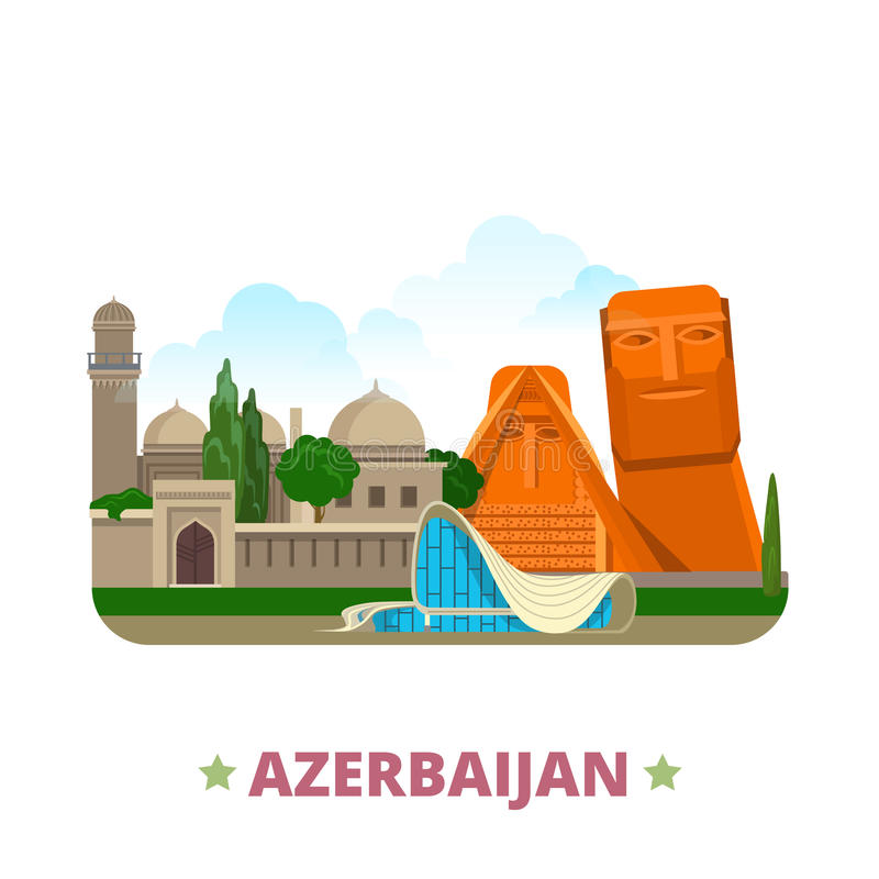 Azerbaijan country design template Flat cartoon st. Azerbaijan country Flat cartoon style historic sight showplace web vector illustration. World vacation travel vector illustration