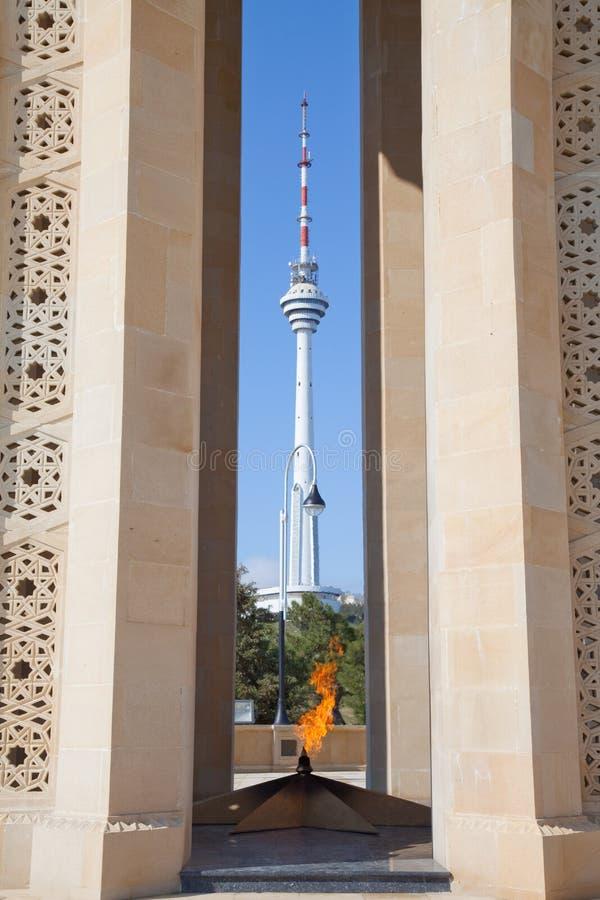 Azerbaijan, eternal flame and broadcasting tower stock image