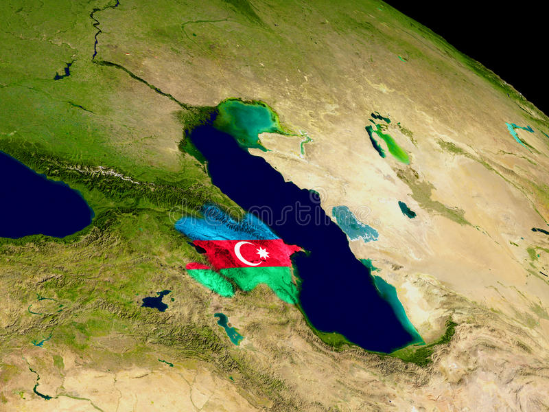 Azerbaijan with flag on Earth. Map of Azerbaijan with embedded flag on planet surface. 3D illustration. Elements of this image furnished by NASA royalty free illustration